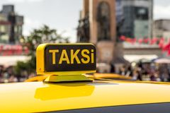 Taxi car in the street. Taxi car on the street - Istanbul/Turkey royalty free stock images