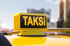 Taxi car in the street. Taxi car on the street- Istanbul/Turkey stock photo