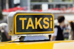 Taxi car in the street. Taxi car on the street- Istanbul/Turkey royalty free stock photography