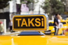 Taxi car in the street. Taxi car on the street- Istanbul/Turkey royalty free stock image