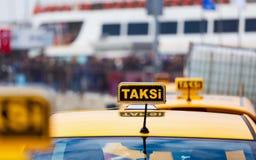 Taxi car on street of Istanbul, Turkey Royalty Free Stock Photos