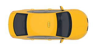 Taxi car top down view. For taxi service app, transport company ad, infographics. Yellow taxicab sedan with checker top light box on roof flat style 3D vector illustration