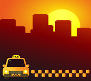 Taxi car on urban background. Evening taxi car on urban red background Stock Photo
