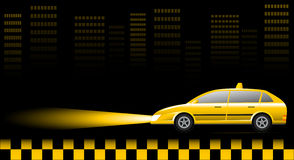 Taxi car on urban landscape at night Royalty Free Stock Image
