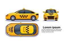 Taxi Car On White Background Isolated Top, Side And Front View Over Copy Space. Taxi Car On White Background Isolated Top, e And Front View Over Copy Space Flat Royalty Free Stock Photo