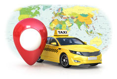 Taxi car on white background and red gps . Stock Images