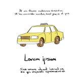 Taxi Car Yellow Draw Color Vector Royalty Free Stock Photos