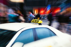 Taxi car with zoom effect Royalty Free Stock Images