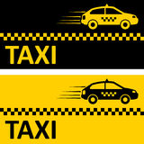 Taxi card. Black and yellow taxi card with taxi car image Stock Illustration