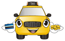 Taxi with card and coins. Smiling face of taxi car hold a credit card and golden cents Royalty Free Stock Photography