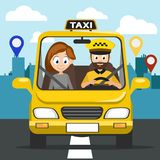 Taxi carries the girl to the address. Taxi carries the girl to the address in the city royalty free illustration