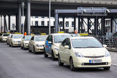 Taxi cars. BERLIN, GERMANY - SEPTEMBER 12, 2013: Parking of the taxi cars at the Berlin Railway Station Royalty Free Stock Images