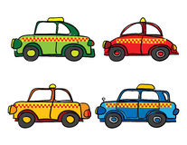 Taxi cars cartoon. Against white background, abstract vector art illustration Royalty Free Stock Images