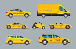 Taxi cars. collection of service yellow cab transport royalty free illustration