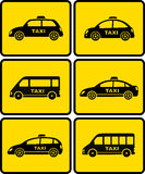 Taxi cars set on yellow buttons Stock Images