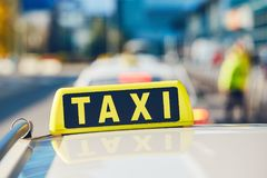 Taxi cars on the street Royalty Free Stock Photos