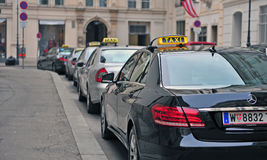 Taxi cars in the street of Vienna Royalty Free Stock Image