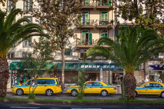 Taxi cars of various types waiting for clients Royalty Free Stock Photo