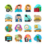 Taxi cartoon icons set Stock Photo