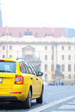 Taxi in a center of Prague Royalty Free Stock Images