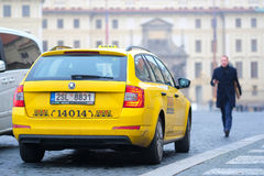 Taxi in a center of Prague Royalty Free Stock Photography
