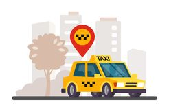 Taxi in the city panorama. Vector illustration Stock Image