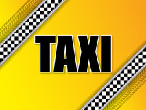 Taxi company advertising with tire tread and metallic elements Stock Photo