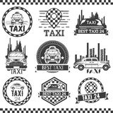 Taxi company labels in vintage style. Design elements, icons, logo, emblems. Cab transportation service. Taxi company labels in vintage style. Design elements Royalty Free Stock Photos