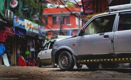 Taxi Crossing Thamel Street Low Angle Shot. Editorial Stock Image