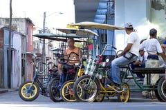 Taxi cykle w Camaguey, Kuba Zdjęcia Royalty Free