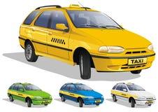 Taxi dans trois variantes Photos libres de droits