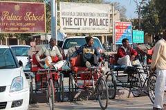 Taxi de bicyclette en Inde Photographie stock