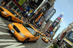 Taxi de New York City, Times Square Photographie stock libre de droits