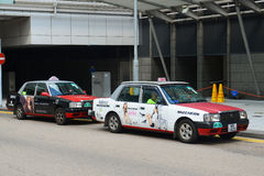 Taxi de rouge de Hong Kong Urban Photo stock