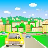 Taxi in de zomerstad Royalty-vrije Stock Afbeeldingen