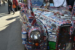 Taxi decorato di Londra Fotografie Stock