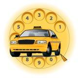 Taxi del concepto por el teléfono Imagenes de archivo