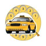 Taxi del concepto por el teléfono Fotografía de archivo libre de regalías