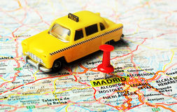 Taxi del mapa de Madrid, España Foto de archivo libre de regalías