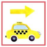 Taxi dell'automobile del fumetto dell'acquerello Progettazione dei vestiti dei bambini, libri, scrapbooking, inviti, saluti illustrazione di stock