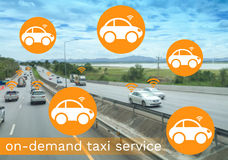 Taxi on demand concept, Royalty Free Stock Images
