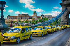 Taxi demonstration in Budapest Royalty Free Stock Photos