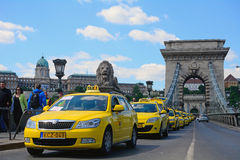 Taxi demonstration in Budapest Royalty Free Stock Photography