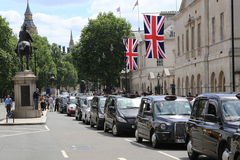 Taxi demonstration in Whitehall Stock Photography