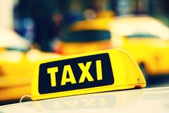 Taxi. Detail of the taxi car on the street royalty free stock photography