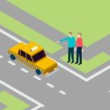 Taxi di cattura della gente Immagine Stock