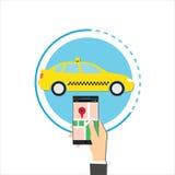 Taxi di ordine online Immagine Stock