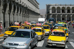 Taxi di Peru Taxi della città delle carrozze della carrozza di Arequipa Fotografie Stock Libere da Diritti