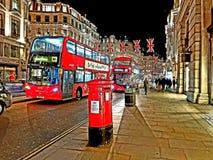 taxi di vita del postbox del bus di Londra del percorso fotografia stock
