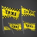 Taxi - drapeaux jaunes de vecteur Image libre de droits